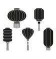 black white chinese lantern silhouette collection vector image