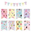 bunting flags set for birthday party design vector image vector image