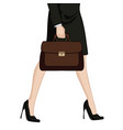 businesswoman in high heels with briefcase vector image