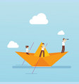bussiness team with paper boat in the ocean vector image
