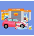 car wash services auto cleaning with water and vector image