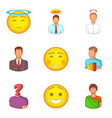character icons set cartoon style vector image