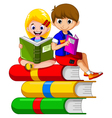 children cartoon reading on the book vector image