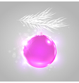 Christmas background with shining pink ball vector image