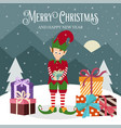 christmas card with elf and gift box vector image