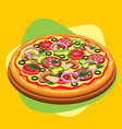 classic round pizza with sausage mushrooms vector image