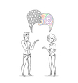 Collaboration of two people Creative woman and man vector image vector image