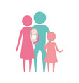 color silhouette set pictogram parents with a baby vector image vector image