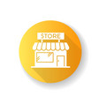 convenience store yellow flat design long shadow vector image
