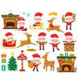 cute santa claus clipart set vector image vector image