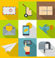 delivery icons set flat style vector image vector image