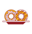 donuts on dish in color sections silhouette vector image vector image