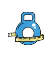 dumbbell with measuring to healthy lifestyle vector image vector image