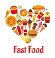 Fast food icons in heart shape emblem vector image vector image