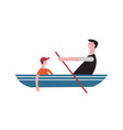 father and son sail in boat vector image vector image
