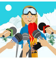 female skier interviewed after competition vector image vector image