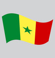 flag of senegal waving on gray background vector image vector image