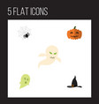 flat icon celebrate set of witch cap phantom vector image vector image
