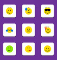 flat icon emoji set of frown displeased cold vector image vector image