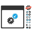 Gears Integration Calendar Page Icon With vector image vector image