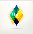 geometric logo in brazil color concept vector image