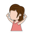 girl raising arms up icon image vector image