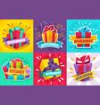 giveaway winner poster gift offer banner vector image vector image