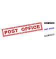 grunge post office textured rectangle stamps vector image vector image