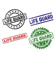 grunge textured life guard seal stamps vector image vector image