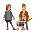 homeless woman with cart of rubbish and drunk man vector image