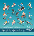 isometric people in gym collection vector image vector image