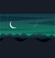 landscape night with silhouette mountains crescent vector image