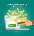 laptop payment transaction and paypass vector image vector image