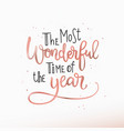 merry christmas happy new year lettering text card vector image