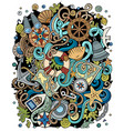 nautical hand drawn doodles funny vector image