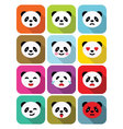 Panda bear flat emotions icons set vector image vector image