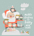 santa claus with happy children and gifts vector image