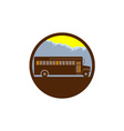 School Bus Vintage Mountains Circle Retro vector image vector image