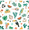 seamless brazilian pattern with cultural vector image