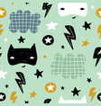 seamless childish pattern with cute hero mask vector image