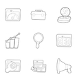 SEO icons set outline style vector image vector image