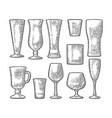 set empty glass beer whiskey wine gin rum vector image