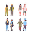 set people in casual clothes standing pose mix vector image vector image