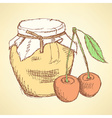 Sketch cherry and jar in vintage style vector image