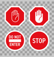 stop road sign red hand enter gesture vector image vector image