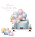 vintage retro car with balloons valentines day vector image