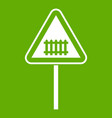 warning road sign icon green vector image vector image