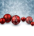 Winter background with red christmas balls vector image vector image