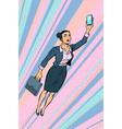 woman businesswoman superhero flying vector image vector image