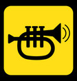 yellow black sign - trumpet sound icon vector image